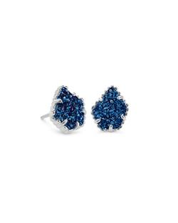 Kendra Scott ~ Tessa Stud Earring (Silver/Blue Drusy)