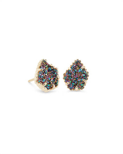Kendra Scott ~ Tessa Stud Earrings (Gold/Multicolor Drusy)