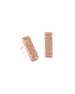 Kendra Scott ~ Lady Stud Earrings (Rose Gold/Sand Drusy)