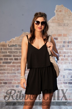 Pay Some Attention Black Romper