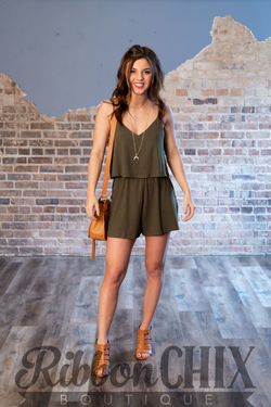 Pay Some Attention Romper (Olive)