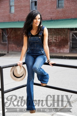 Free People ~ Carly Flare Overalls (Denim)