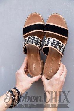 TOMS Black Suede with Geometric Woven Strap Mariposa Sandals