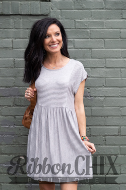 Stay In Line Gray/Natural Dress