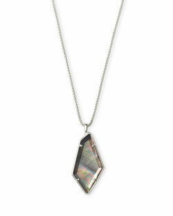 Kendra Scott ~ Lilith Necklace Bright Silver/Black Mother of Pearl