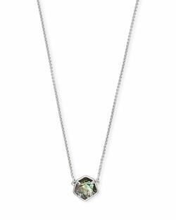 Kendra Scott ~ Jaxon Necklace in Bright Silver/Black Mother of Pearl