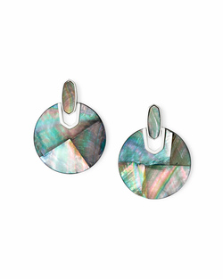 Kendra Scott ~ Didi Earring in Bright Silver/Black Mother of Pearl