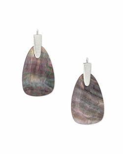 Kendra Scott ~ Marty Earring in Bright Silver/Black Mother of Pearl