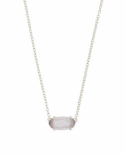 Kendra Scott ~ Ever Necklace in Silver/Slate Cats Eye