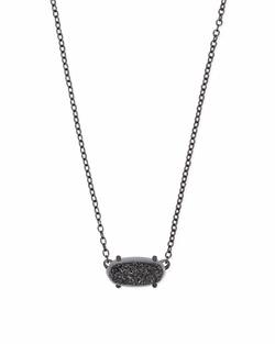 Kendra Scott ~ Ever Necklace in Gunmetal/Black Drusy