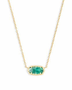 Kendra Scott ~ May Birthstone, Elisa Pendant Necklace in Emerald Cats Eye