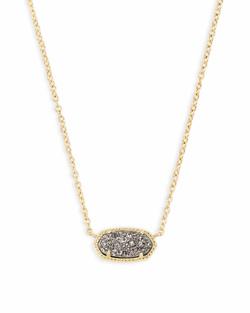Kendra Scott ~ Elisa Gold Pendant Necklace In Platinum Drusy