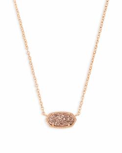 Kendra Scott ~ Elisa Rose Gold Pendant Necklace In Rose Gold Drusy