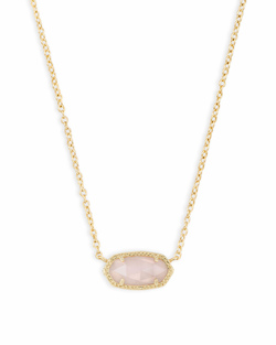 Kendra Scott ~ Elisa Gold Pendant Necklace In Rose Quartz