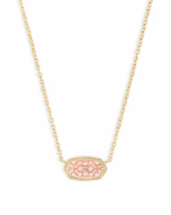 Kendra Scott ~ Elisa Gold Pendant Necklace In Rose Gold Filigree