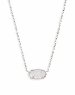 Kendra Scott ~ Elisa Silver Pendant Necklace In Iridescent Drusy