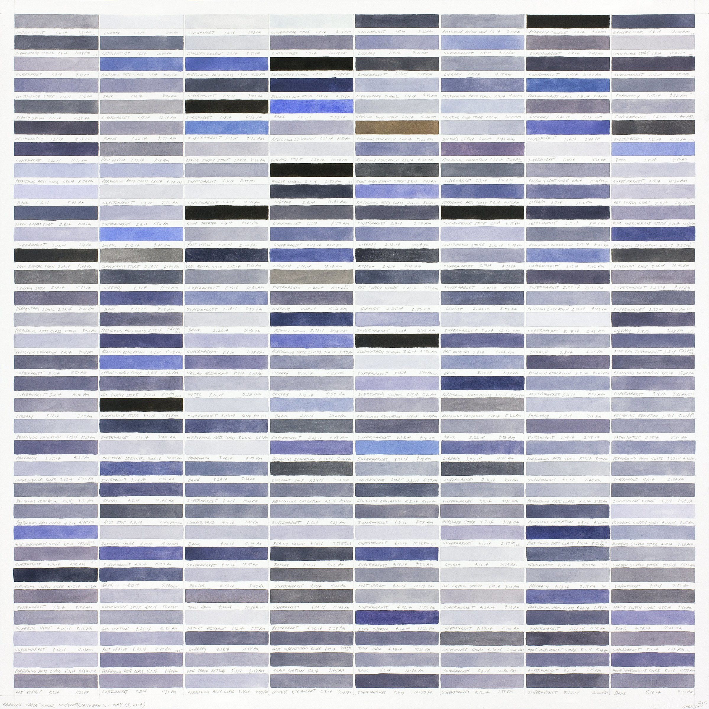Richard Garrison, Parking Lot Spaces (January 2-May 13, 2014), 2017