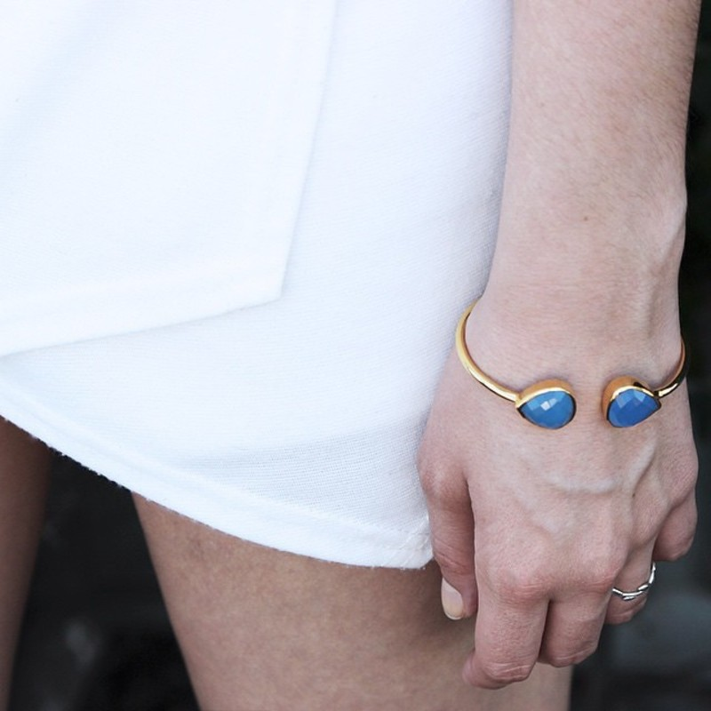 User Generated Content for Margaret Elizabeth Teardrop Bangle in Blue Chalcedony