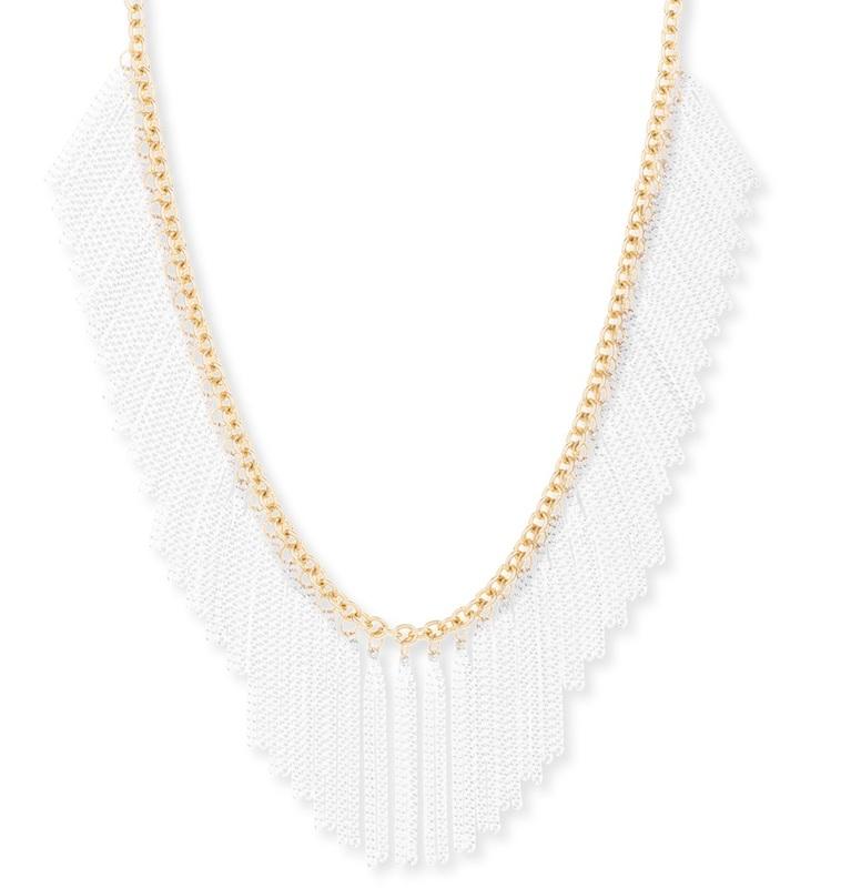SLATE White Chain Fringe Necklace