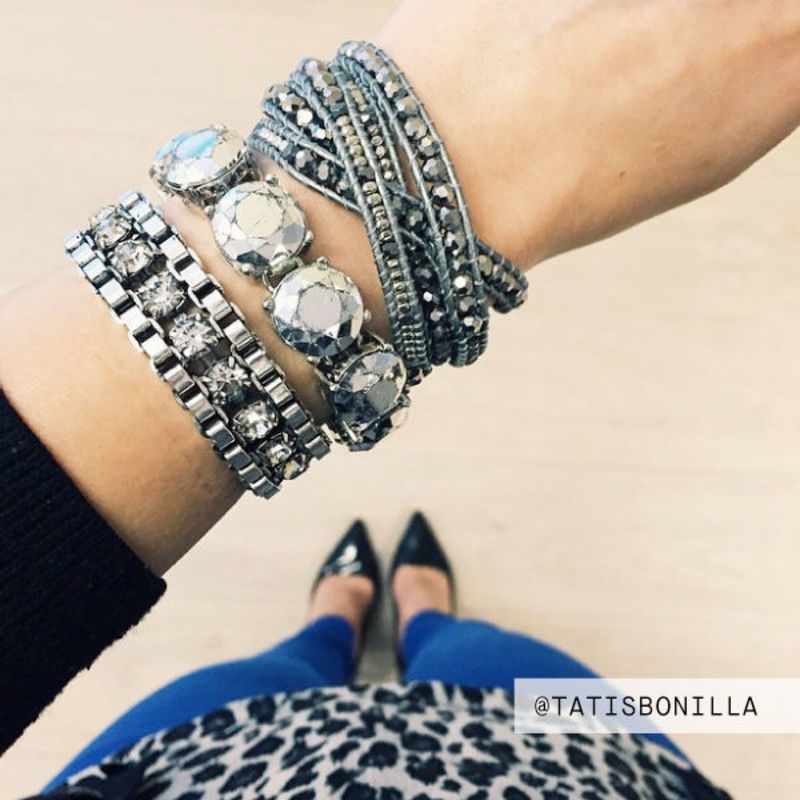 User Generated Content for Nakamol Mixed Crystal Five Times Grey Leather Wrap Bracelet