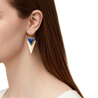 Model Content for Jenny Bird Flagstaff Earrings in Gold and Lapis