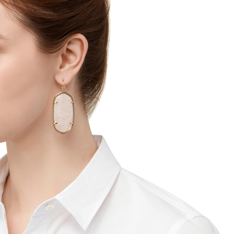 Model Content for Kendra Scott Danielle Earrings in Rose Quartz