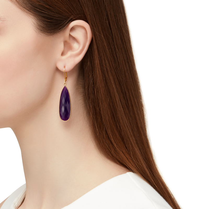 Model Content for Olivia & Grace Lorena Earrings in Purple Chalcedony