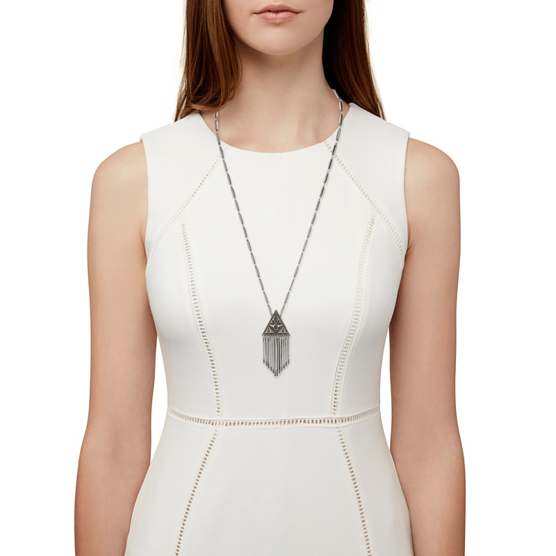 Model Content for House of Harlow 1960 Golden Hour Fringe Pendant Necklace in Silver