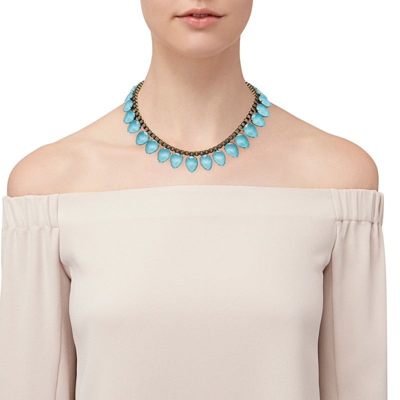 Model Content for Loren Hope Sylvia Necklace in Bay Blue