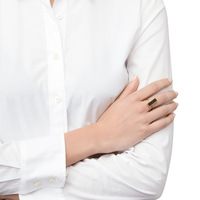 Model Content for Elise M Muse Ring in Gold with Black Druzy