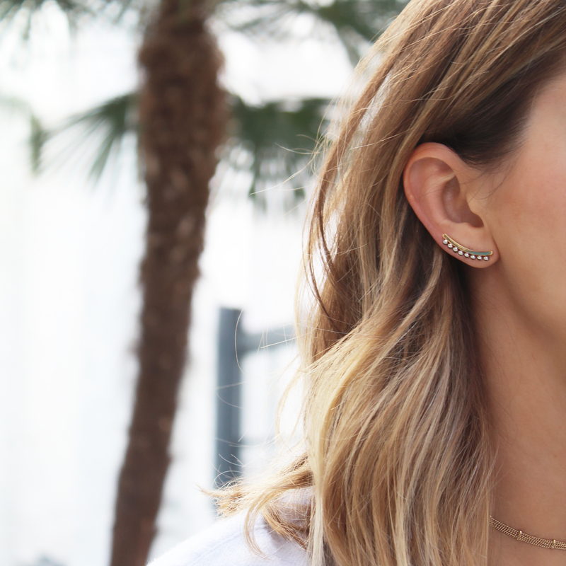 User Generated Content for Rebecca Minkoff Pearl Climber Earrings in Gold and Silver