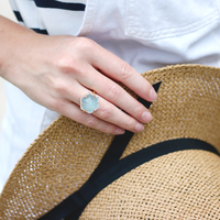 User Generated Content for Olivia & Grace Hexagon Pave Ring in Aqua Chalcedony