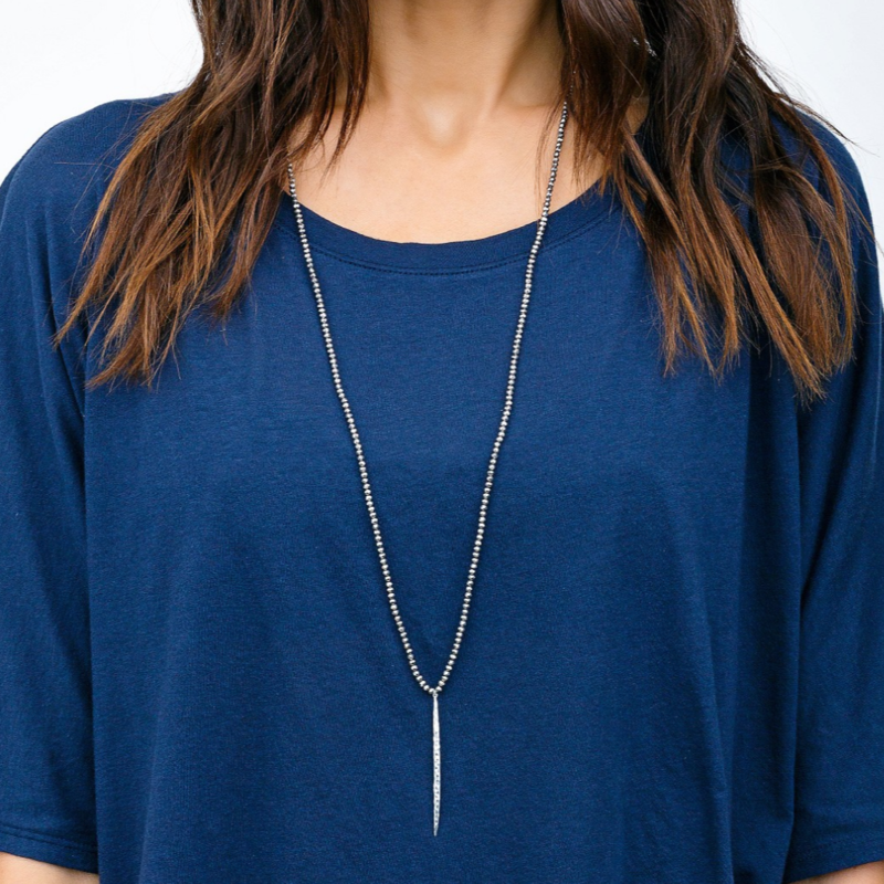 User Generated Content for Gorjana Nora Beaded Long Necklace in Pewter Crystal and Silver