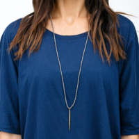 User Generated Content for Gorjana Nora Beaded Long Necklace in Pewter Crystal and Gold