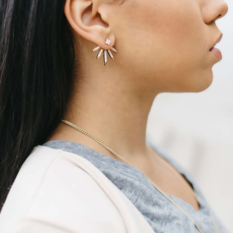 User Generated Content for SLATE Pave Burst Ear Jackets in Gold