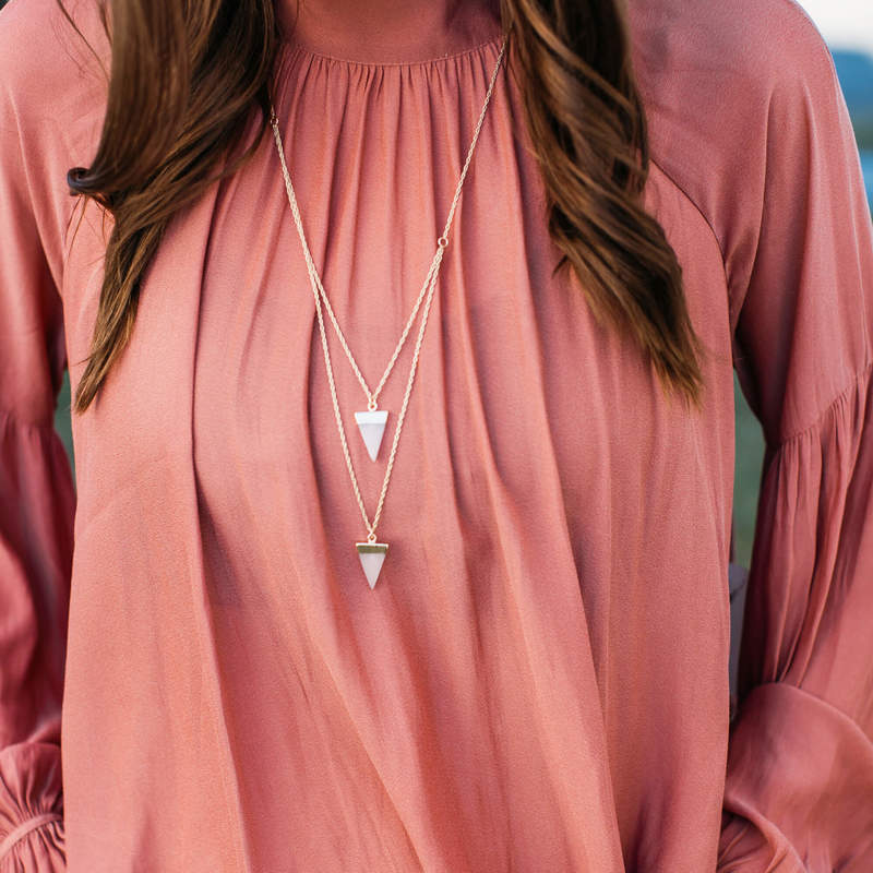 User Generated Content for SLATE Rose Double Drop Stone Pendant