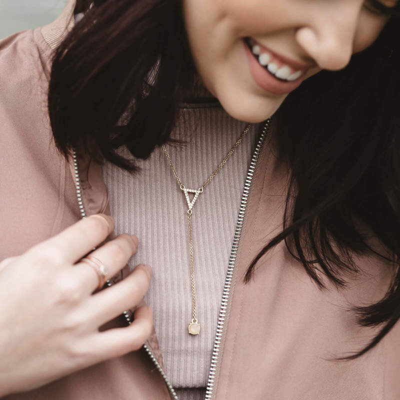 User Generated Content for Sophie Harper Pavé Triangle Y Necklace