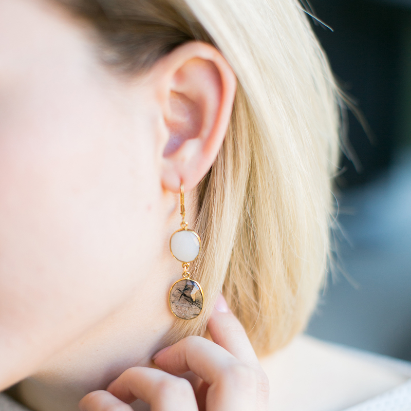 User Generated Content for Olivia & Grace Carolyn Earrings in Moonstone and Black Quartz