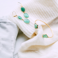 User Generated Content for Olivia & Grace Carolyn Earrings in Green Chalcedony