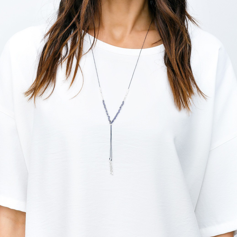 User Generated Content for Gorjana Power Gemstone Necklace in Silver and Iolite
