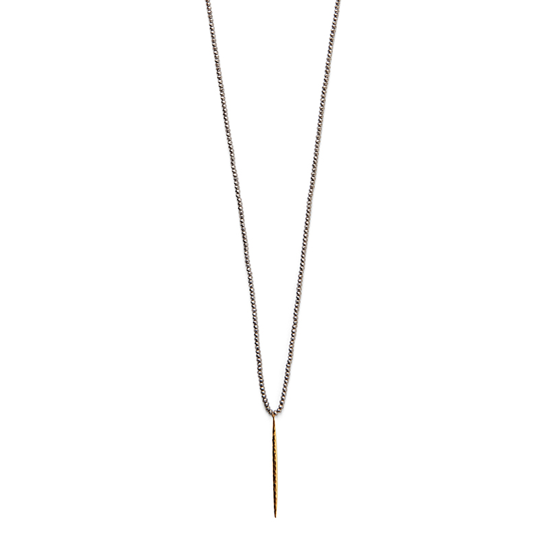 Gorjana Nora Beaded Long Necklace in Pewter Crystal and Gold