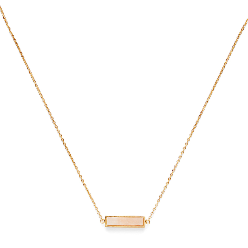 Gorjana Dez Bar Necklace in Gold and Pink Aventurine