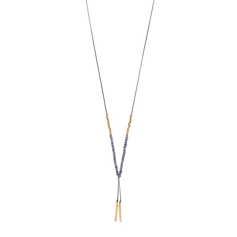 Gorjana Power Gemstone Necklace in Gold and Iolite