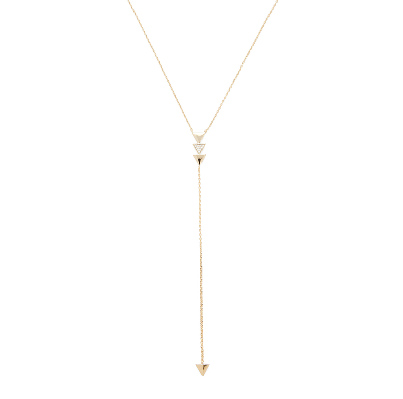 Jill Michael Gold Delicate Pave Triangle Lariat Necklace