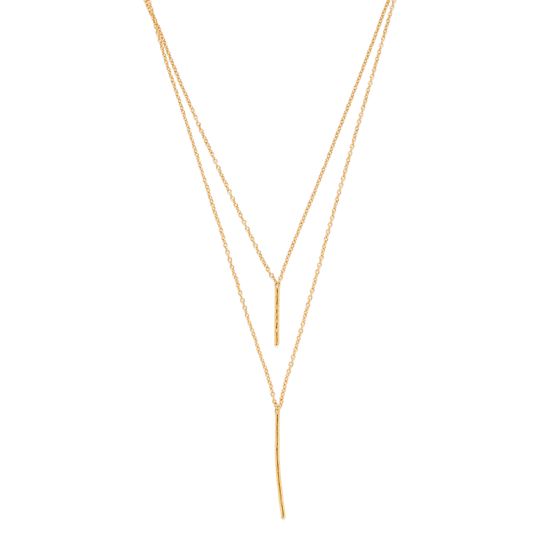 Gorjana Kiernan Double Pendant Necklace in Gold