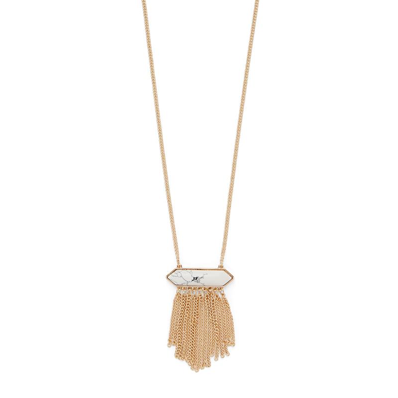 SLATE Helena Fringe Pendant Necklace