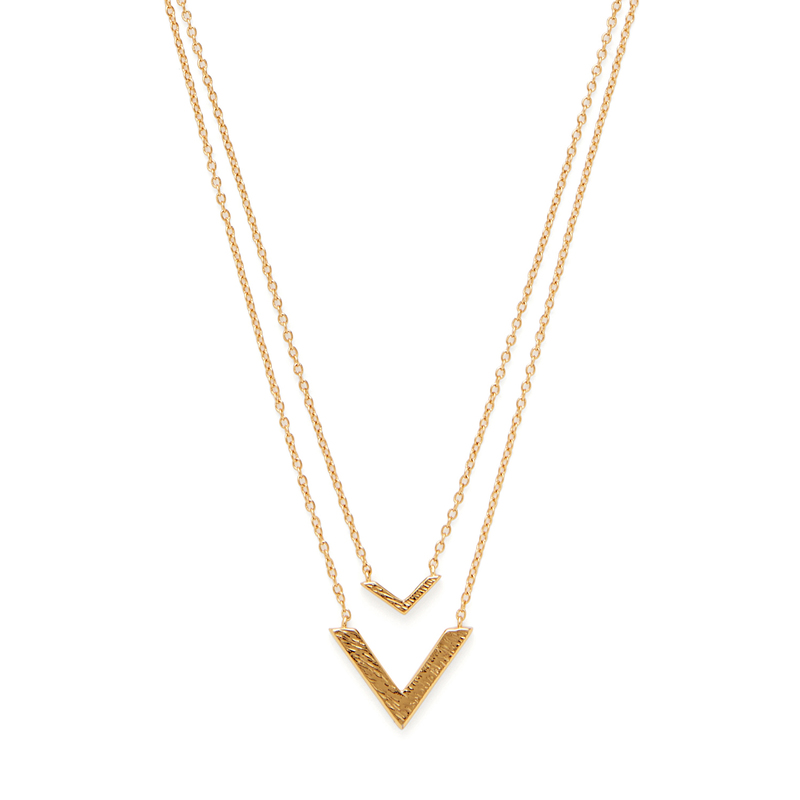 Gorjana Knox V Double Pendant Necklace in Gold