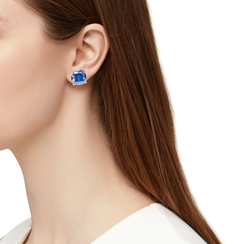 Model Content for Kate Spade Small Square Studs in Royal Blue