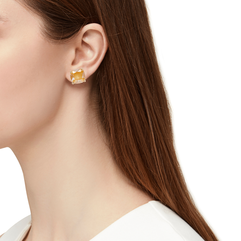 Model Content for Kate Spade Small Square Studs in Saffron