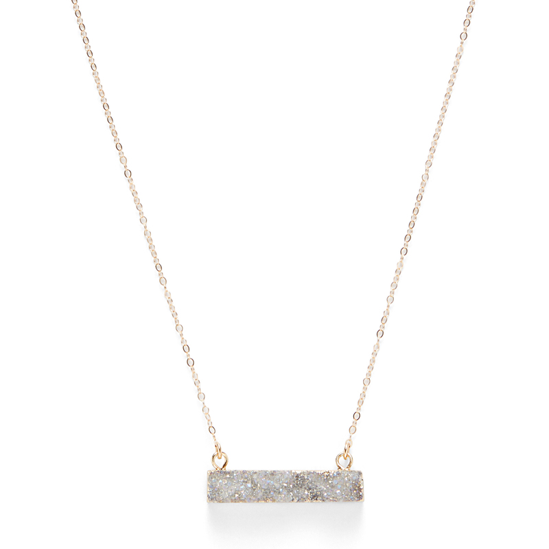 Leslie Francesca Bar Necklace in Unicorn Druzy